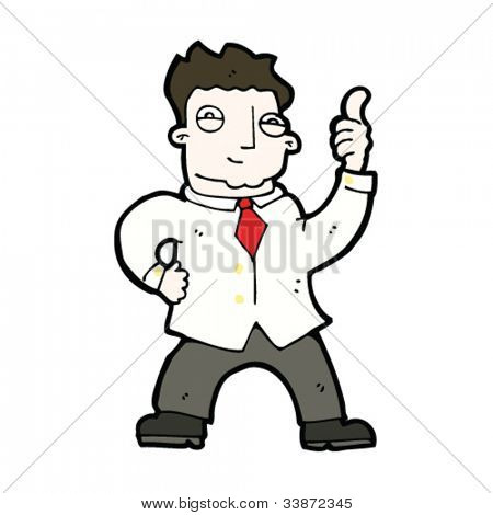 cartoon businessman giving thumbs up sign