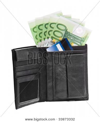men's wallet with Euros and credit cards