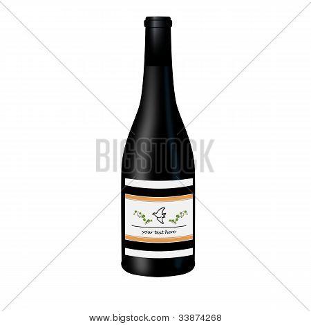 Black wine bottle with label