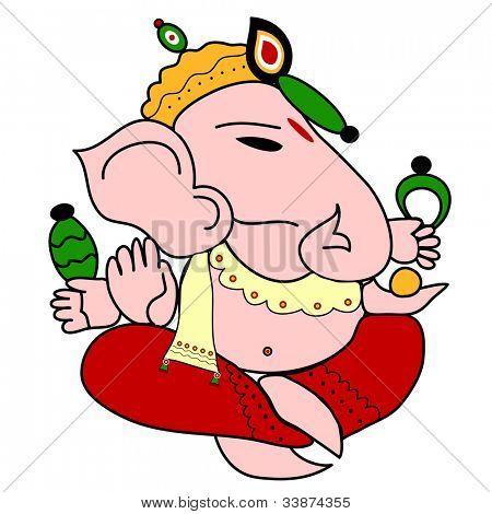Indian God Ganesha illustration with bright colors