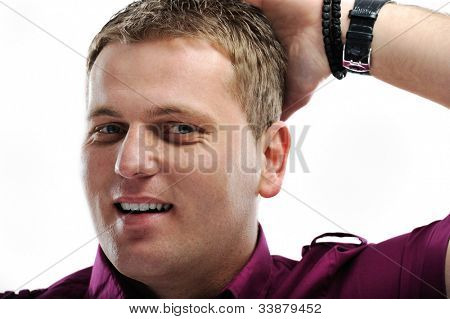 Handsome man with hand to head questioning and not understanding something