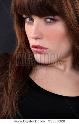 Closeup of a sultry brunette