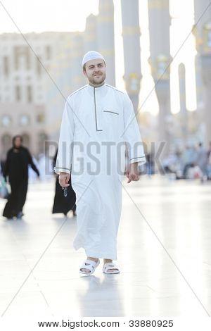 Muslim walking in Medina haram