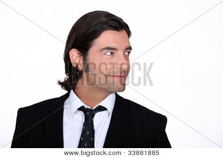 business man look to his side