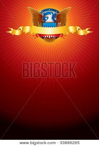 Bright Vector Background with American Eagle