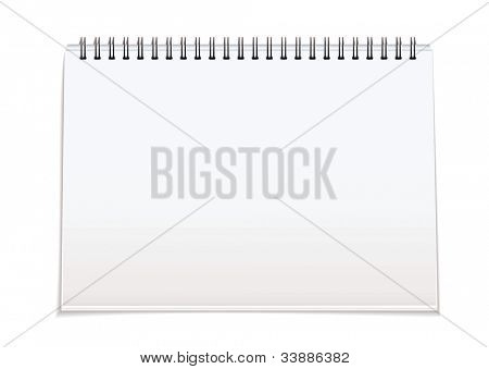 Plain white paper note pad with spiral bind spine and shadow
