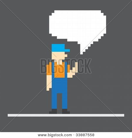 Pixel worker with speech cloud. Template foe a text