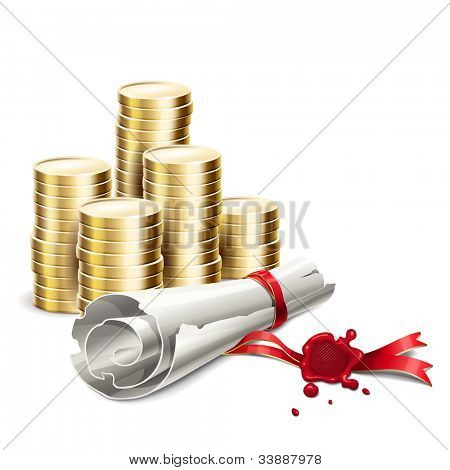 Vector illustration of a scroll wills and inheritance form money