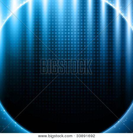 Blue light effects on metal pattern design - vector background