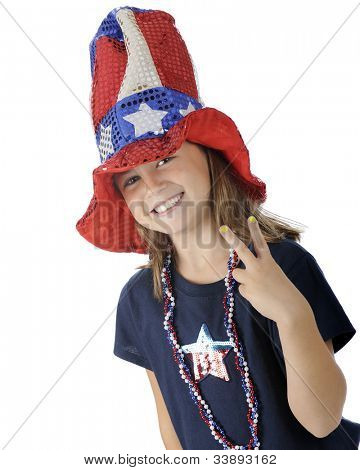 "A pretty elementary girl in a tall, sparkly Uncle Sam hat gesturing ""victory"" with her fingers.  On a white background."