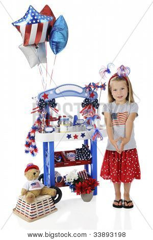 An adorable preschooler standing by her 4th of July vendor stand.  The stand's signs are left blank for your text.  On a white background.