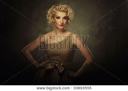 Retro woman in dress