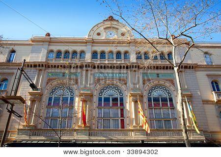 Barcelona Gran Teatro del Liceo Liceu facade in ramblas
