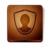 Brown User Protection Icon Isolated On White Background. Secure User Login, Password Protected, Pers poster