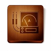 Brown Ampere Meter, Multimeter, Voltmeter Icon Isolated On White Background. Instruments For Measure poster
