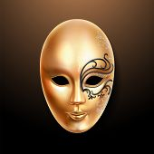 Golden Mask With Ornately Lace. Volto Type Face Cover Or Carnival Mask. Masquerade Woman Mask Or The poster