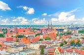 Top Aerial Panoramic View Of Old Historical City Centre Of Wroclaw: Ostrow Tumski With Collegiate Ca poster