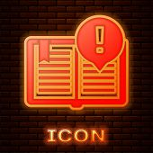 Glowing Neon Interesting Facts Icon Isolated On Brick Wall Background. Book Or Article Sign. Exclama poster