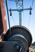 Steel Cable And Winch. Part Of An Old Winch With A Steel Rope On A Lift. Detail Of The Cableway. Clo poster