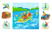 People In Boat Rafting Vector, Set Of Hobbies And Extreme Sports. Highlining And Parkour, Skateboard poster