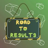 Word Writing Text Road To Results. Business Concept For Business Direction Path Result Achievements  poster