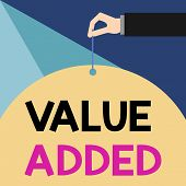 Writing Note Showing Value Added. Business Photo Showcasing The Extra Value Created Over And Above T poster