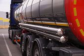 Tanker Truck While Parking In A Parking Lot. Parking By The Highway. poster