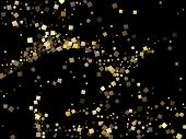 Minimal Gold Square Confetti Sparkles Scatter On Black. Rich Christmas Vector Sequins Background. Go poster