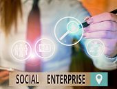 Text Sign Showing Social Enterprise. Conceptual Photo Commercial Organization That Has Specific Soci poster