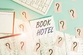 Handwriting Text Writing Book Hotel. Concept Meaning An Arrangement You Make To Have A Hotel Room Or poster