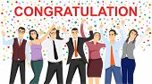 People Who Congratulate You. Congratulations. People Wave Their Hands And Greet. Beautiful Decoratio poster