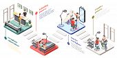 Tattoo Studio Isometric Flowchart With Reception Master Workplace Equipment Client Choosing Design S poster