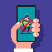 Telephone Fraud. Protection Against Theft Of Money. Flat Vector Illustration. poster