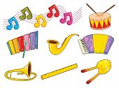 Illustration of mixed musical instruments