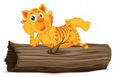 stock photo of hollow log  - Illustration of a tiger on a log  - JPG