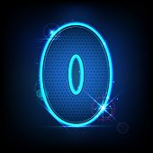 illustration of glowing number zero on abstract background