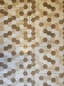 Hexagon Design Made Of Ceramic Tiles. Bathroom Tile Preparation. Lively And Colorful Tile Look poster