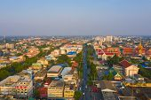 Aerial View Of Residential Buildings In Phra Prathom Chedi District, Nakhon Pathom, Thailand. Urban  poster