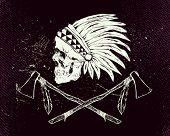 stock photo of apache  - Vector illustration indian skull and tomahawk - JPG