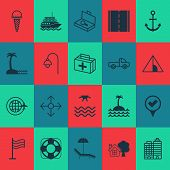 Tourism Icons Set With Seaside Place, Beach, Tent And Other Relax Chair Elements. Isolated Vector Il poster
