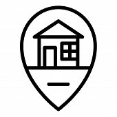 House Location Icon. Outline House Location Vector Icon For Web Design Isolated On White Background poster