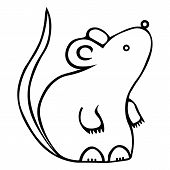 White Metal Rat. Colorless Background. Chinese New Year. Eastern Calendar. Coloring Book For Childre poster