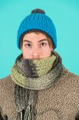 Feeling Sick And Cold. He Caught A Cold. Male Knitwear Fashion. Men Knitted Accessory. Poor Homeless poster