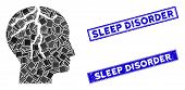 Mosaic Brain Cancer Pictogram And Rectangle Sleep Disorder Seals. Flat Vector Brain Cancer Mosaic Pi poster