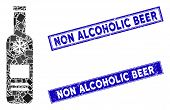 Mosaic Cold Vodka Bottle Pictogram And Rectangle Non Alcoholic Beer Seal Stamps. Flat Vector Cold Vo poster
