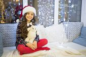 Best Friend. Happy Girl Hold Christmas Gift. Small Child Smile With Toy Friend. Friend And Friendshi poster