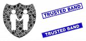Mosaic Trust Shield Icon And Rectangular Trusted Band Seals. Flat Vector Trust Shield Mosaic Icon Of poster