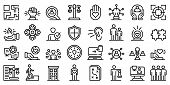 Responsibility Icons Set. Outline Set Of Responsibility Vector Icons For Web Design Isolated On Whit poster