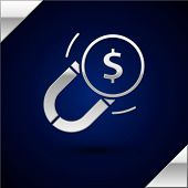 Silver Magnet With Money Icon Isolated On Dark Blue Background. Concept Of Attracting Investments. B poster