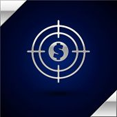 Silver Target With Dollar Symbol Icon Isolated On Dark Blue Background. Investment Target Icon. Succ poster
